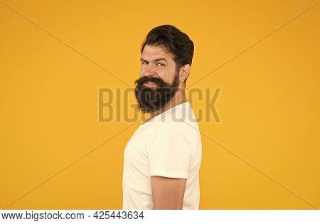 Bushy Beard Hipster Man Barbershop Client Yellow Background, Smiling Macho Concept