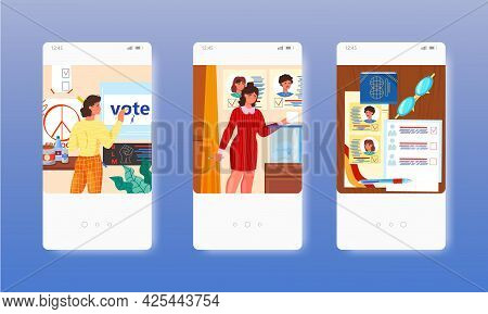 Voting. Election Campaign. Polling Day. Voter. Mobile App Screens, Vector Website Banner Template. U