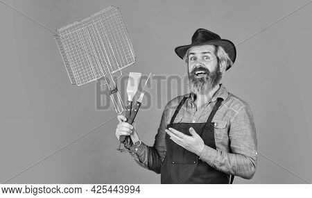 Perfect For Menu. Holiday Celebration Concept. Man Cooking To Eat Barbecue. Grill And Bbq. Summer Ba