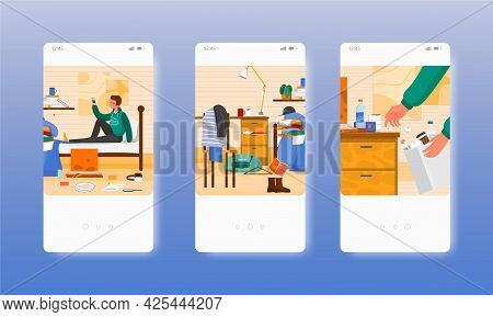 Messy Clean Students Room, Before After Cleaning. Mobile App Screens, Vector Website Banner Template