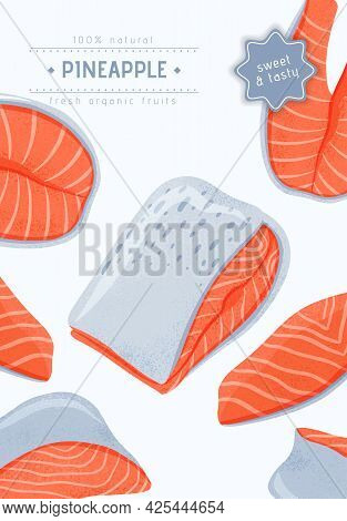 Fresh Tasty Salmon Fillets, Sea Fishes Vector Hand Drawn Poster Design With Space For Text.