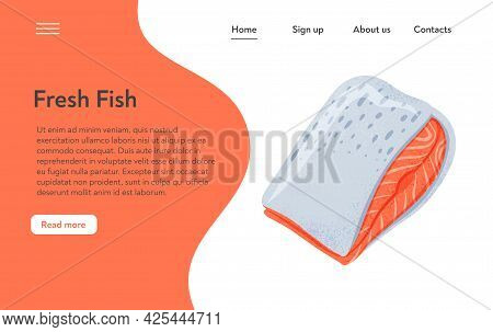 Fresh Tasty Salmon Fillet, Sea Fish Vector Hand Drawn Landing Page Design With Space For Text.