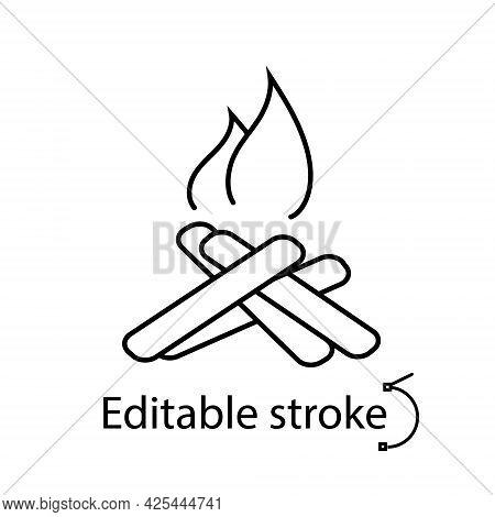 Camping Bonfire Outline Icon. Customizable Linear Contour Symbol. Editable Stroke. Isolated Vector S
