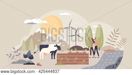 Natural Resources Sustainable And Friendly Consumption Tiny Person Concept. Scene With Environmental