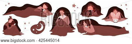 People With Mobile Phone Devices At Night Vector Illustration Set. Cartoon Young Man And Woman Chara