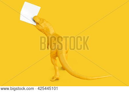 Yellow Tyrannosaurus With Laptop. Technology Concept. 3d Rendering.