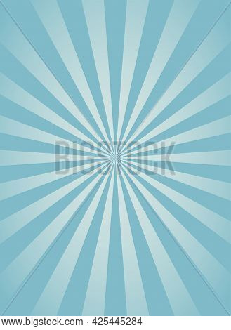 Sunlight Vertical Background. Powder Blue Color Burst Background With White Highlight. Fantasy Vecto