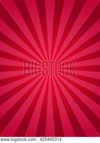 Sunlight Rays Vertical Poster. Red Burst Background. Vector Illustration. Sun Beam Ray Sunburst Wall