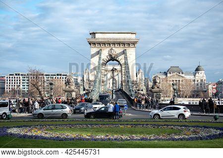 Budapest, Hungary - January 06, 2019: View Of Szechenyi Chain Bridge And Budapest Cityscape