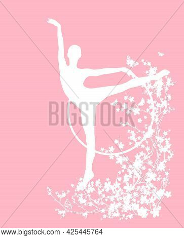 Blooming Spring Season Tree Branches, Slim Gymnast Girl And Flying Butterflies Vector Silhouette Cop