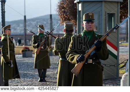 Budapest, Hungary - January 06, 2019: Budapest Guard And Ceremonial Regiment At The Of Royal Castle