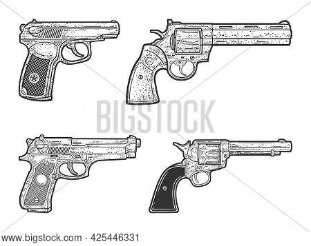 Pistol Guns Set Historical Sketch Engraving Vector Illustration. Makarov, Beretta 92, Colt Peacemake