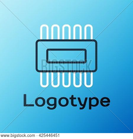 Line Computer Processor With Microcircuits Cpu Icon Isolated On Blue Background. Chip Or Cpu With Ci