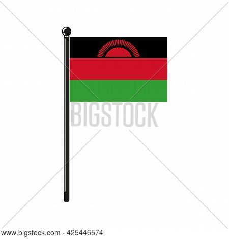 National Flag Of Republic Of Malawi In The Original Colours And On The Stick
