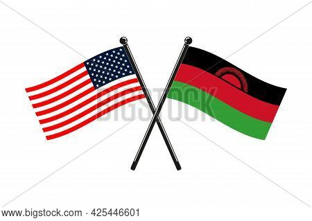 National Flags Of Malawi And Usa Crossed On The Sticks In The Original Colours