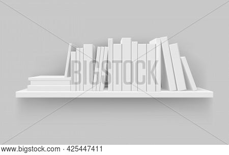Realistic Shelf With Blank Book Vector Illustration. Bookshelf Mockup With Literature Isolated