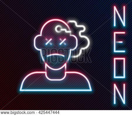 Glowing Neon Line Murder Icon Isolated On Black Background. Body, Bleeding, Corpse, Bleeding Icon. C