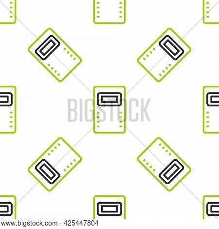 Line Police Assault Shield Icon Isolated Seamless Pattern On White Background. Vector
