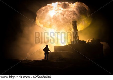 Creative Artwork Decoration. Chernobyl Nuclear Power Plant At Night. Layout Of Abandoned Chernobyl S