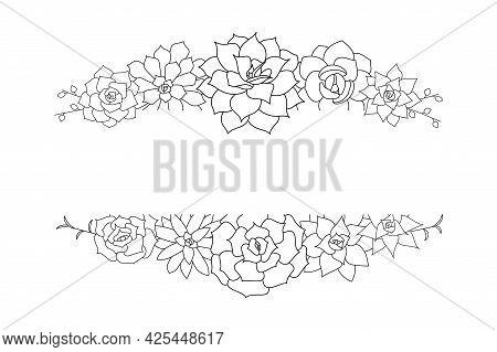 Succulent Echeveria Vector Frame. Hand Drawn Desert Flower Illustration In Doodle Style. Set Plants