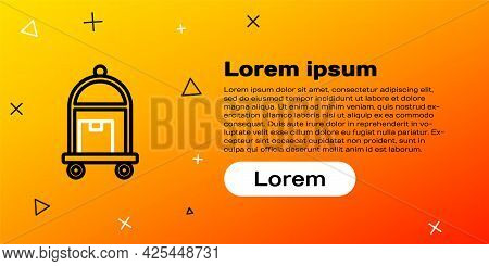 Line Hotel Luggage Cart With Suitcase Icon Isolated On Yellow Background. Traveling Baggage Sign. Tr