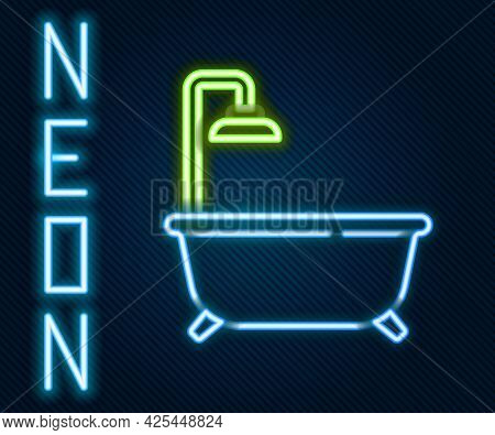 Glowing Neon Line Bathtub With Shower Icon Isolated On Black Background. Colorful Outline Concept. V