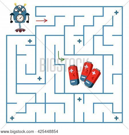 Robot Blue Is Looking For A Way To Recharge The Battery Through The Maze. Maze Mini-game On Paper. C