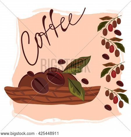 Banner Or Card Backdrop With Coffee Beans In Woven Basket And Floral Decorative Elements, Flat Vecto
