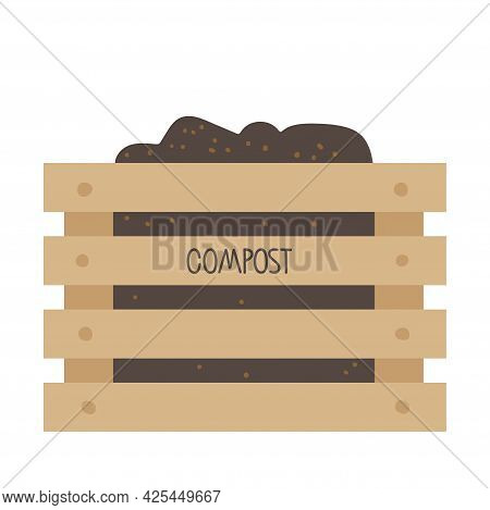 Compost. Wooden Box Of Boards With The Inscription Compost For Food Waste. Environmentally Responsib