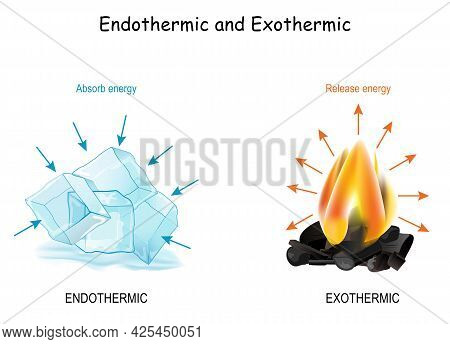 Endothermic And Exothermic Chemical Reactions. Cold Cubes Of Ice Absorb Energy, And Hot Fire Release