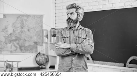 Educational Concept. Mature Bearded Teacher. Back To School. Develop Logic And Creativity. Start The