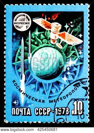 Russia, Ussr - Circa 1978: A Postage Stamp From Ussr Showing Interkosmos Space Meteorology