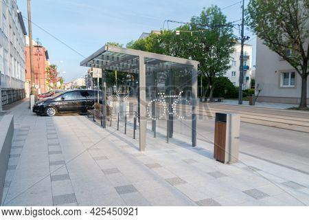 Gorzow Wielkopolski, Poland - June 1, 2021: Bike Parking In City Center Of Gorzow Wielkopolski.