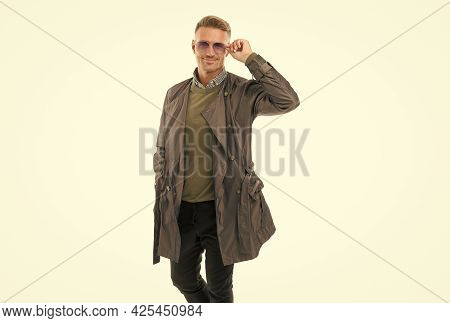 Male Autumn Fashion Style. Men Beauty. Mature Handsome Man With Hairstyle In Coat. Confident Busines
