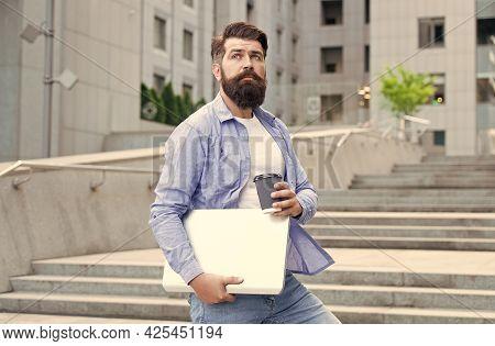 Go Ahead For Break. Hipster Hold Takeaway Cup And Laptop. Coffee Break. Hot Drink. Morning Break. Re