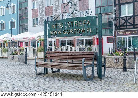 Gorzow Wielkopolski, Poland - June 1, 2021: Web Strefa Bench.