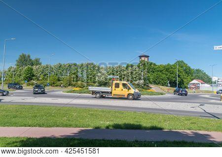 Szczecinek, Poland - May 31, 2021: Roundabout Of Cardinal Ignacy Jez.