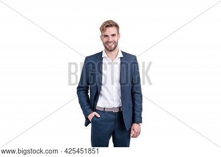 Successful Man In Businesslike Suit. Professional Entrepreneur Manager. Male Formal Fashion.