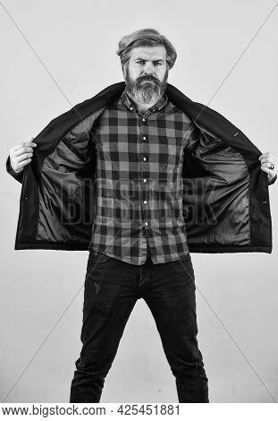 Mature Hipster With Beard. Fashion Photo. Portrait Of Mature Fashionable Male. Model Wearing Stylish