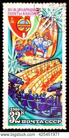 Russia, Ussr - Circa 1980: A Postage Stamp From Ussr Showing Interkosmos International Space Flight