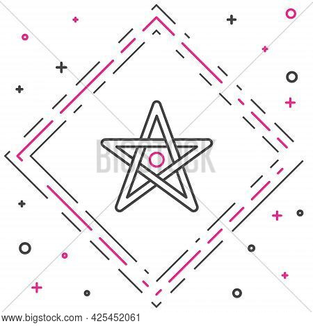 Line Pentagram Icon Isolated On White Background. Magic Occult Star Symbol. Colorful Outline Concept