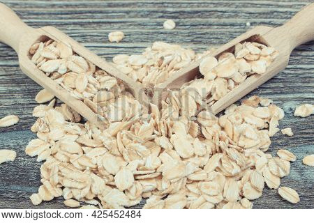 Heap Of Healthy Rye Flakes Or Oat Bran As Source Dietary Fiber And Natural Minerals. Nutritious Eati