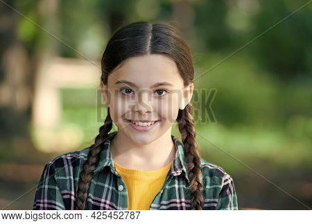 Healthy Smile Begins With Child. Happy Kid Smile On Summer Day. Little Girl With Cute Smile Outdoors