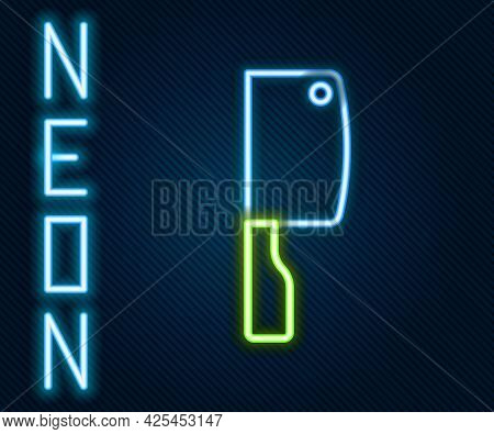 Glowing Neon Line Meat Chopper Icon Isolated On Black Background. Kitchen Knife For Meat. Butcher Kn