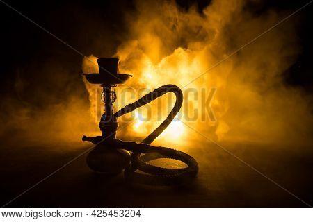 Shisha Concept. Hookah Hot Coals On Shisha Bowl With Black Background. Stylish Oriental Shisha With