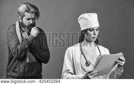 Cold Flu Symptoms. Virus Epidemic. Sick Patient. Doctor Patient Consultation. Prescribe Medicines. M