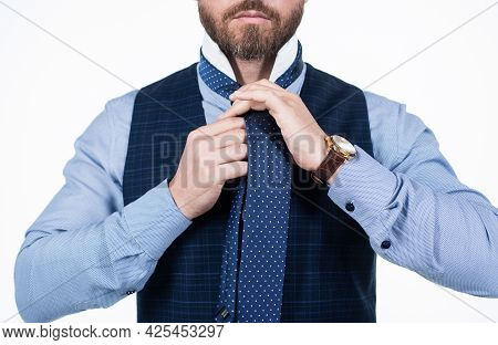 Looking So Good. Cropped Ceo Wear Wristwatch. Boss Man Isolated On White.
