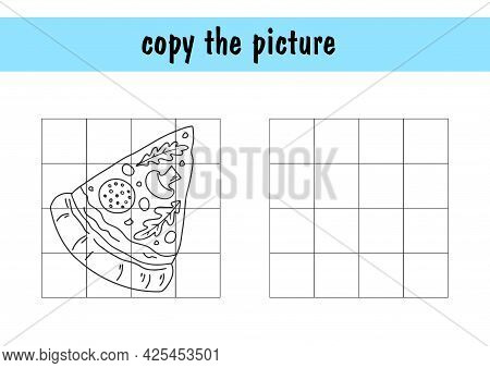 Children S Mini-game On Paper - Repeat The Drawing Of The Pizza. Copy The Picture Using Grid Lines,