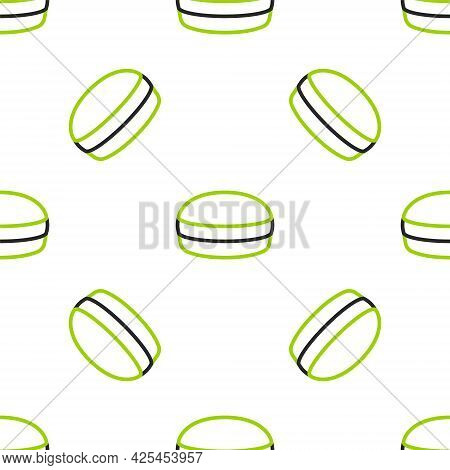 Line Macaron Cookie Icon Isolated Seamless Pattern On White Background. Macaroon Sweet Bakery. Vecto