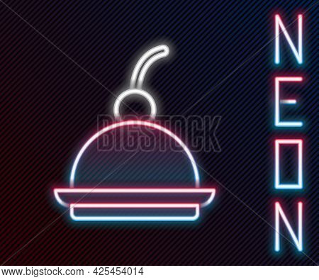 Glowing Neon Line Cherry Cheesecake Slice With Fruit Topping Icon Isolated On Black Background. Colo